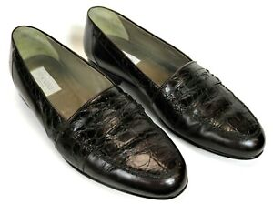 BERNINI BROWN CROCODILE & LEATHER HAND MADE IN ITALY MENS LOAFER SLIP ON SHOES