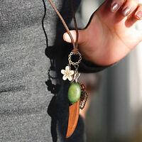 Vintage Boho Hörner Schmetterling Nest Blume Halskette Anhänger Pullover Kette