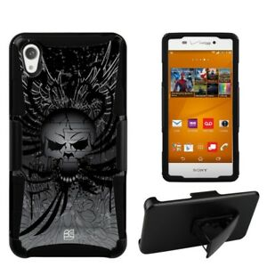 For Sony Xperia Z3 Hybrid Holster Belt Clip Phone Case Wing Skull Head