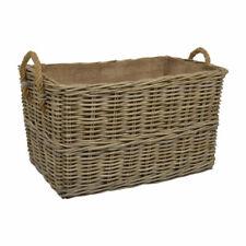 Kubu Rattan Rectangle Medium Log Basket With Hoop Handles