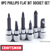 "Craftsman Screwdriver Bit Socket Set Phillips Flat 3/8"" Drive 6pc P1 P2 P3"