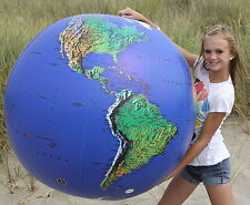 "48"" Inflatable DK. BLUE TOPOGRAPHICAL Earth Globe Big World Beach Ball Earthball"