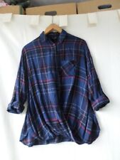 New Look Women Blue Checked Twist Hem Pocket Front Shirt Size 8/36