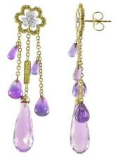 $2150.00 18K Philip Andre Solid Gold Amethyst & Diamond Drop Dangling Earrings