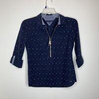 NWT Tommy Hilfiger Womens S Navy Blue Half Zip Long Sleeve Shirt MSRP $69.50