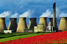 799065 Poppy Field And Ferrybridge Power Station West Yorkshire UK A4 Photo Prin