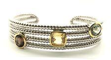 Sterling Silver Yellow Citrine / Prasiolite / Topaz Twisted Cuff Bangle Bracelet