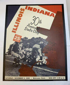 "Illinois Fighting Illini v Indiana Football 1949 Program Poster Print 14"" x 11"""