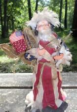 Shabby Vintage Patriotic Santa Claus Plastic/Rubber Face Hands Old Santa