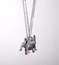 Antiguos Plateado Hermoso Collar Colgante Bulldog Francés-en Bolsa De Regalo