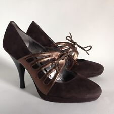 Calvin Klein Womens Brown Suede Leather Lace Tie Mary Jane Shoe UK 4 EU 37 US 6M