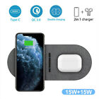 30W Qi Dual Wireless Charger Fast Charging Mat For iPhone 12 XS Samsung S21 S20+