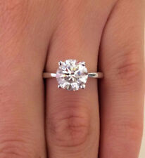 1.00 Ct Round Solitaire Diamond Engagement Ring 14K Solid White Gold Size L M N