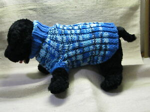 Hand Knit Small Dog or Cat Size Sweater - Shades of Blue - Navy to Light Shades