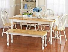 Dining Table Set 6 Person Wood Farmhouse Rustic Wooden Kitchen Chairs Bench Room
