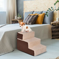 Pet Ramp Stairs Dog Cat 3 Step Bed Sofa Furniture Puppy Gear Cotton - Wood Frame