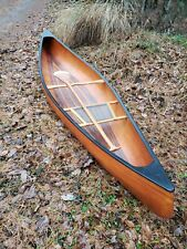 """Wooden canoe 12'4"""" long, 36"""" wide, one-seater with paddle"""