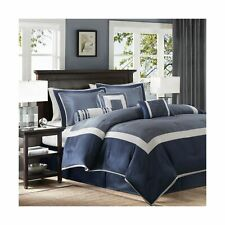 Madison Park Genevieve King Size Bed Comforter Set Bed in A Bag - Navy, Piece.