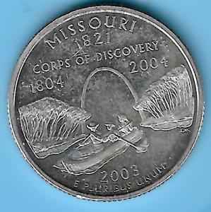 Washington Statehood Silver Quarter 2003 S Missouri Silver Quarter 90% Silver