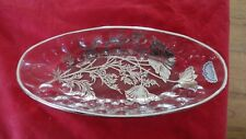 Vintage Silver City Glass Relish Celery Vanity Dish Sterling still has sticker