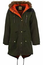 Women's Fishtail Fur Hooded Parka Jacket Ladies Khaki Quilted PVC Contrast Coat