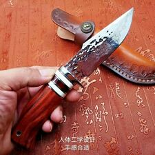 Hunting Knife Survival Fixed Blade VG10 Cire Damascus Steel Wood Handle Handmade