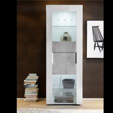 Vetrina per soggiorno, 1 anta vetro, Vetrina verticale, Vetrina Easy Beton