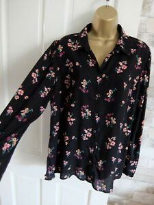 NEW LOOK ● size 14 ● black floral shirt blouse top womens ladies