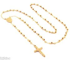 "Mens and Ladies Stainless Steel Rose Gold 30"" Rosary Necklace 4mm Round Beads"