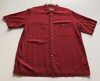 Caribbean Men's Medium Red Button Down Shirt 100% Silk Short Sleeves Casual