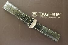 TAG HEUER 22MM DK GRAY CROCODILE DEPLOYMENT WATCH BAND WATCHBAND BRACELET STRAP