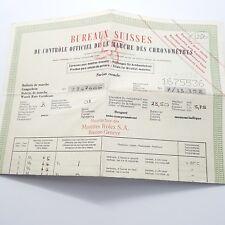 Rolex certificate OFFICIAL CHRONOMETER TEST