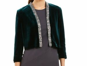 Calvin Klein Womens Jacket Green Size Small S Embellished Velvet Shrug $79 347