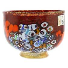 GlassOfVenice Murano Glass Millefiori Bowl - Red