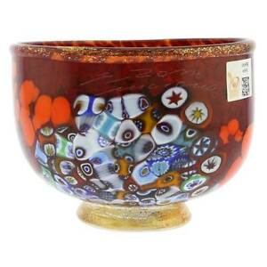 GlassOfVenice Murano Glass Millefiori Bowl - Red