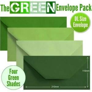 100 Green Colour Envelopes. 4 Different Green Shades DL Gummed Green Envelopes.