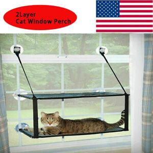 2 Layer Pet Cat Window Hammock Perch Sleeping Hanging Beds Seat Mount Stack
