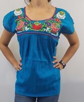 S-XL Huipil peasant  hippie vintage Mexican Embroidered Blouse Top Puebla