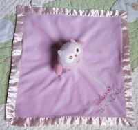 Stepping Stones Whoo's a Cutie Owl Pink w Satin Baby Girl Security Blanket Lovey