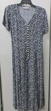 Vintage Paris Sports Club Blue Floral Button Up Flared Split Bottom Dress Small