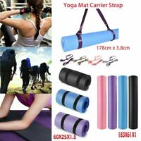 Exercise Yoga Mat Thick Fitness Meditation Camping Workout Pad or Carrier Strap