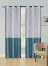 EID WHITE TEAL Insulated Lined Blackout Grommet Window Curtain Panel PAIR