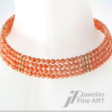 Korallen-Collier, Halsspange 4-reihig - Länge 36 cm - 14K/585 Goldelemente