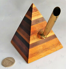 """Pyramid pen holder stand made of layered wood 3"""" tall desk top office study item"""