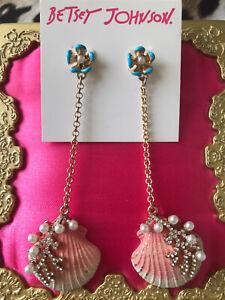 Betsey Johnson Festival Mermaid Pink Scallop Shell Coral Pearl Long Earrings
