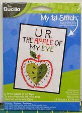 "Bucilla My 1st Stitch Cross Stitch Kit 5""x7"" ""U R The Apple Of My Eye"""
