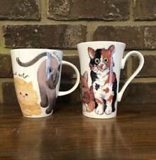Set of two ROY KIRKHAM Bone China Tea Cups Coffe Mugs Playfull Cats ENGLAND