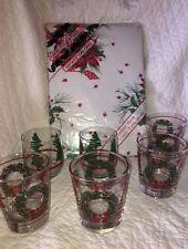 Huge Vintage Christmas Lot of 6 Glasses & One Vinyl Tablecloth Lot