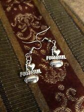 I LOVE FOOTBALL EARRINGS Heart Sports SuperBowl Steelers Patriots Silver Dangle