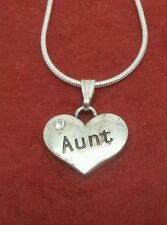 Aunt Necklace Heart Silver Plated cute charm pendant and chain 18inch jewelry